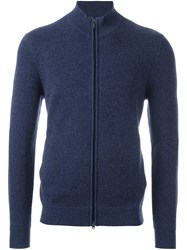 Z Zegna Zipped Cardigan Blue