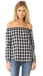 Rag And Bone Off Shoulder Top Black Grey