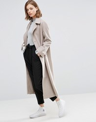 Asos Duster Coat In Wool With D Ring Detail Oatmeal Stone