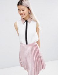 Asos Sleeveless Blouse With Embellished Collar And Contrast Placket Ivory White