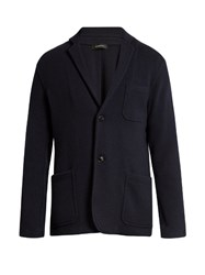 Ermenegildo Zegna Single Breasted Wool And Cashmere Blend Jacket Navy