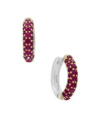 Effy Ruby And Sterling Silver Hoop Earrings Red