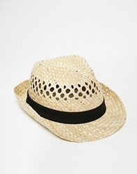 Selected Straw Trilby Beige