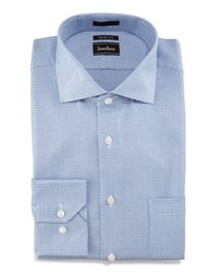 Neiman Marcus Trim Fit Neat Dress Shirt Blue