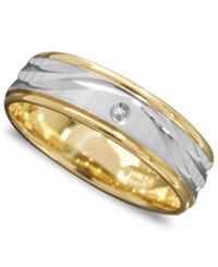 Macy's Men's 14K Gold And 14K White Gold Ring Wave Engraved Band
