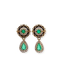 Estate Victorian Emerald And Diamond Enamel Drop Earrings