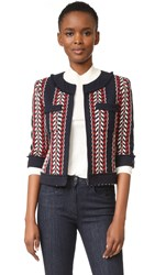 Wgaca Chanel Tweed Cardigan Previously Owned Red White