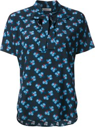 P.A.R.O.S.H. Shortsleeved Floral Blouse Black