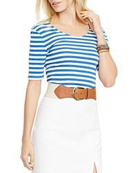 Lauren Ralph Lauren Striped Scoop Neck Tee Blue White