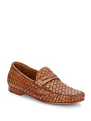 Saks Fifth Avenue Made In Italy Woven Leather Penny Loafers Cuoio