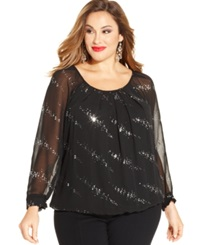 Ny Collection Plus Size Long Sleeve Semi Sheer Top