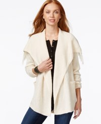 G.H. Bass And Co. Open Front Draped Collar Cardigan Pearl
