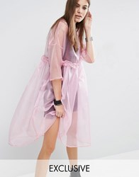 Reclaimed Vintage Oversized Sheer Tulle Dress With Cami Slip Pink