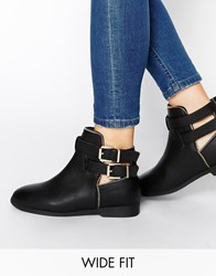 New Look Wide Fit Carosel Buckle Flat Boots Black