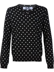 Comme Des Gara Ons Play White Dots V Neck Sweatshirt Black
