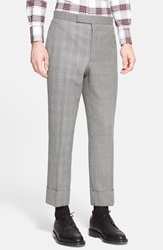Thom Browne Glen Plaid And Houndstooth Wool Pants Grey