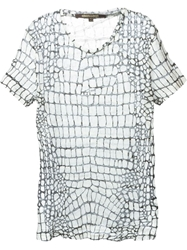 Roberto Cavalli Crocodile Print Sheer T Shirt White