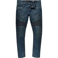 River Island Mens Dark Blue Wash Sid Skinny Biker Jeans