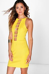 Boohoo Ribbed Ladder Front Bodycon Dress Yellow