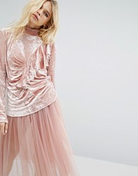 Sister Jane Ruffle Drape Top In Crushed Velvet Pink