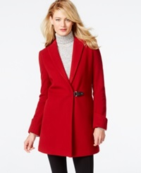 Calvin Klein Faux Leather Trim Buckled Walker Coat Red