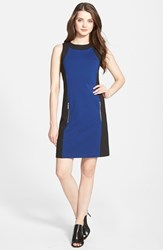 Petite Women's Michael Michael Kors Colorblock Sleeveless Ponte Sheath Dress Sapphire