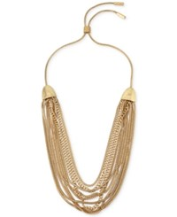 Kenneth Cole Coral Canyon Gold Tone Multi Row Chain Collar Necklace