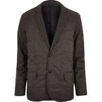 River Island Mens Dark Grey Padded Quilted Slim Blazer