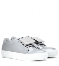 Acne Studios Adriana Metallic Leather Sneakers Silver