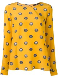 Odeeh Lip Print Blouse Yellow And Orange