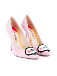 Sophia Webster Boss Lady Patent Leather Pumps Pink Multicoloured Multi Coloured Denim