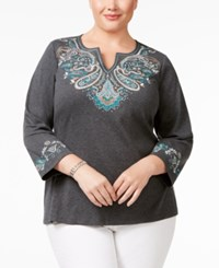 Karen Scott Plus Size Embroidered Top Only At Macy's Charcoal Heather