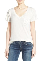 Women's Socialite V Neck Pocket Tee White