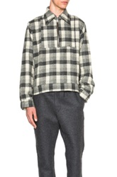 Gosha Rubchinskiy Flannel Shirt With Zipper In Gray Checkered And Plaid