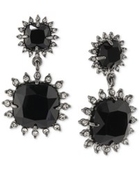 Carolee Hematite Tone Jet Stone Double Drop Clip On Earrings Black