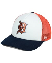 '47 Brand Women's Detroit Tigers Glimmer Captain Snapback Cap White Orange Navy