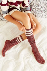 Urban Outfitters Marled Varsity Stripe Over The Knee Sock Berry