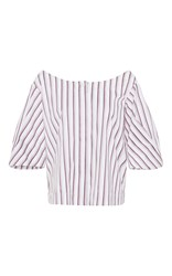 Isa Arfen Bunting Stripe Off The Shoulder Blouse