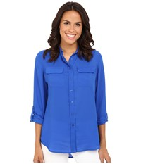 Christin Michaels Paula Button Down Blouse Atlantic Blue Women's Blouse