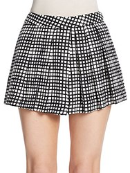 L'agence Check Print Pleated Shorts Black Check