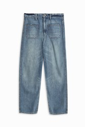 Helmut Lang Wide Leg Denim Trousers Blue