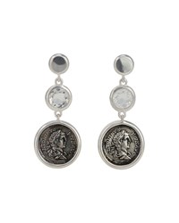 1884 Jewelry Legacy Vivace Silver Coin And Moonstone Triple Drop Earrings Women's