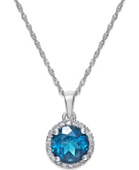 Macy's London Blue Topaz 1 1 2 Ct. T.W. And Diamond Accent Pendant Necklace In 14K White Gold