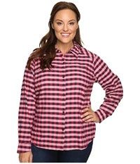Columbia Plus Size Silver Ridge Plaid Long Sleeve Shirt Punch Pink Twill Women's Long Sleeve Button Up