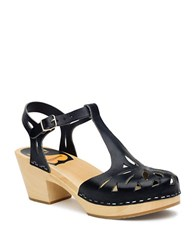 Swedish Hasbeens Lacy Platform Leather Sandals Black