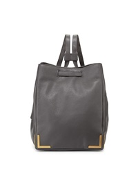 Badgley Mischka Linda Leather Bucket Backpack Charcoal