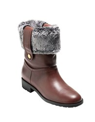 Cole Haan Breene Faux Fur Trimmed Leather Ankle Boots Chestnut