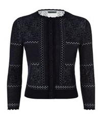 Alexander Mcqueen Victorian Lace Cropped Cardigan Navy