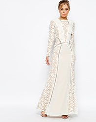 Jarlo Long Sleeved V Neck Maxi Dress With Details Cream