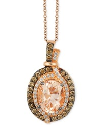 Le Vian Chocolatier Vanilla Diamonds 1 8 C.T. T.W. Chocolate Diamonds 1 3 C.T. T.W. And Peach Morganite 1 1 4 Ct T.W. Pendant In 14K Strawberry Rose Gold Pink